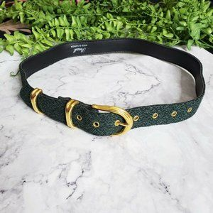 Vintage 1990s Green Fabric Cover Gold Buckle Belt